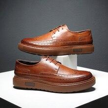 Misalwa Nóng Nam Brogue Giày Đi Dạo Da Giày Buộc Dây Dày Tăng Chiều Cao Đế Giải Trí Giày Sneaker Nam Giá Rẻ thả Vận Chuyển