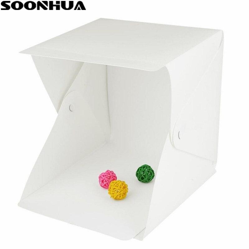 SOONHUA portátil plegable Lightbox estudio de fotografía Softbox LED luz caja suave tienda Kit para teléfono DSLR Cámara Foto fondo