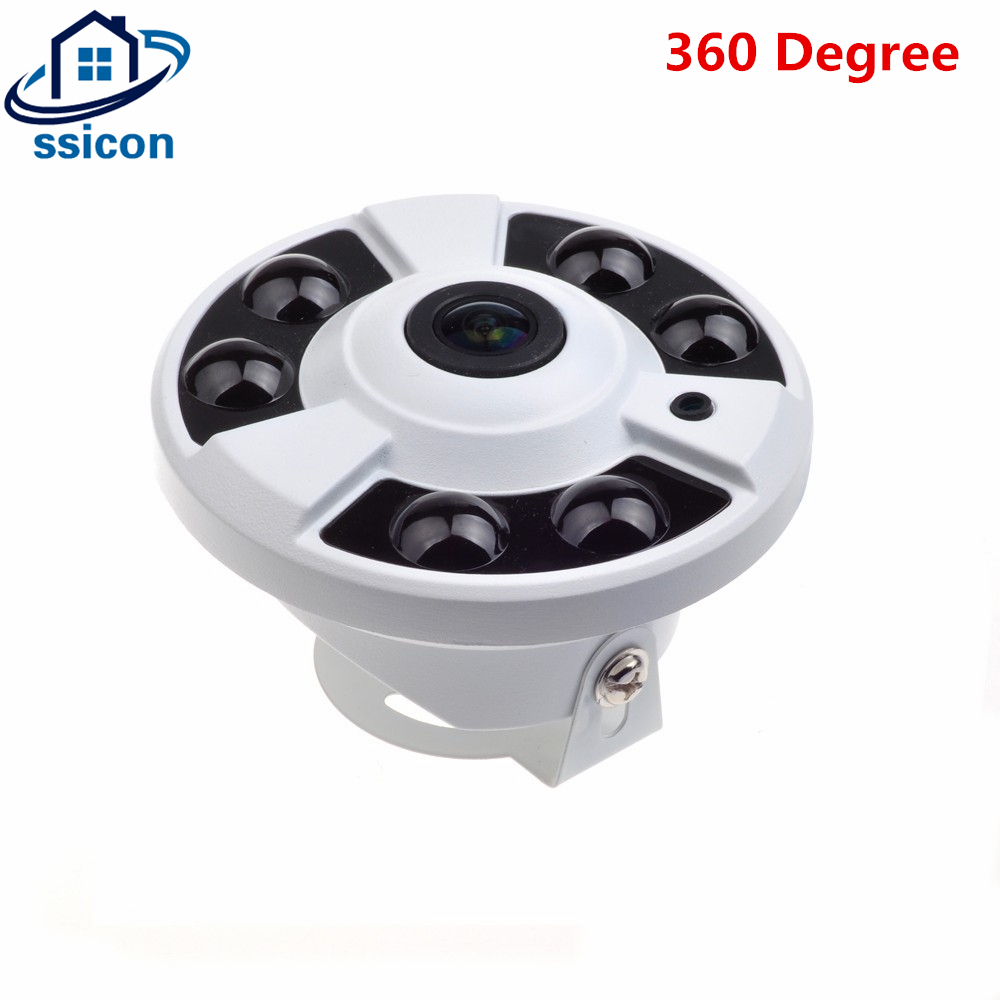 SSICON 2.0MP AHD Indoor Camera Fisheye 1.44mm Lens 6 Pieces Array Leds Wide Angle CCTV Panoramic 360 Camera Dome