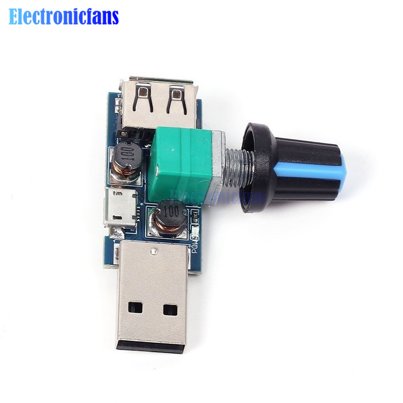 <font><b>DC</b></font> 4-<font><b>12V</b></font> <font><b>to</b></font> 2.5-<font><b>8V</b></font> 5W Micro USB Fan Stepless Governor USB Fan Speed Controller Multi-Gear Auxiliary Cooling Tool Noise Reduction image