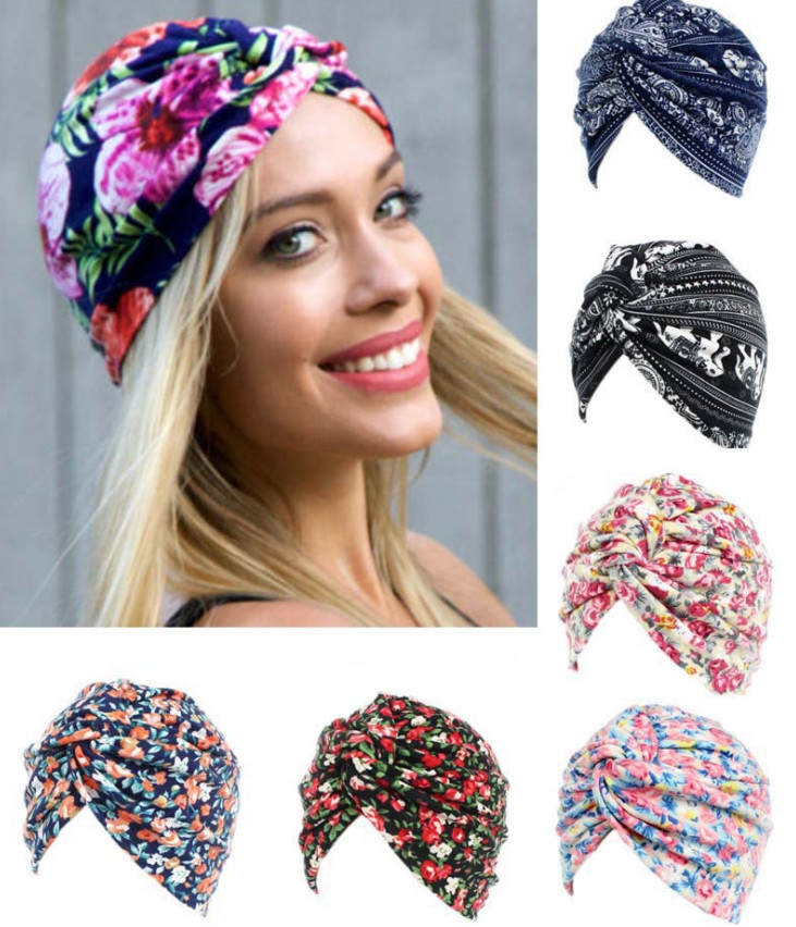 Hats Beanies-Caps Indian-Style Womens Ladies Leopard for 100pcs Flowers Printing High-Quality