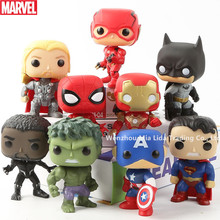 Hasbro Avengers 9pcs/set Q version Spider-Man Iron Man Hulk Black Panther The Flash Doll Model toys