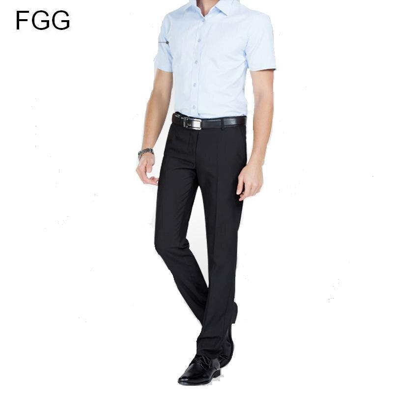 €13.95 25% de DESCUENTO|Pantalones de trabajo de oficina de algodón de sarga pantalones de traje negro de caballero para hombres pantalones de