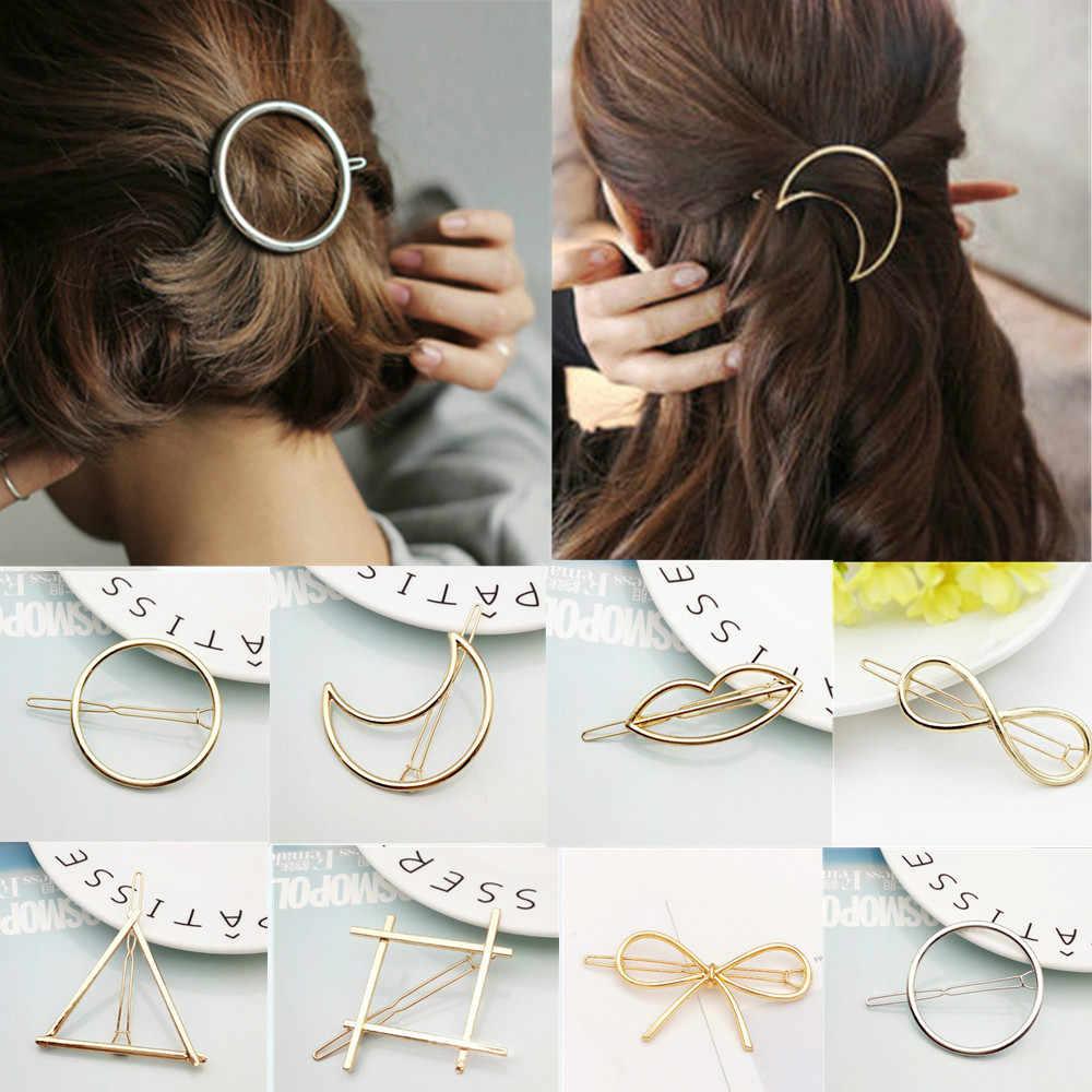 2019 แฟชั่นคลิปผมสำหรับผู้หญิง Elegant Design สามเหลี่ยม Moon Lip รอบ Barrette Hairpin Hairpin ผม Pins อุปกรณ์เสริม #01