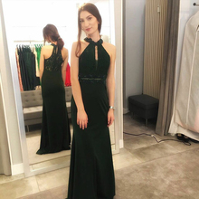 Bbonlinedress Mermaid Prom Dress 2019 O Neck Long Chiffon Dark Green Evening with Lace Keyhole vestido de noche