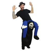 Black Night Wandering Soul Ghost Vampire Costume Rider On Devil Ghost Costumes Skeleton Piggy Back Fancy