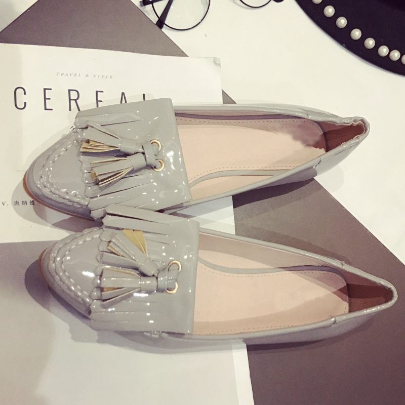 Spring Autumn Brand Women Flats Shoes Zapatos Mujer Pointed Toe Sexy Fringe Soft Casual Driving Shoes Ladies Work Single Shoes new spring autumn women shoes pointed toe high quality brand fashion ol dress womens flats ladies shoes black blue pink gray