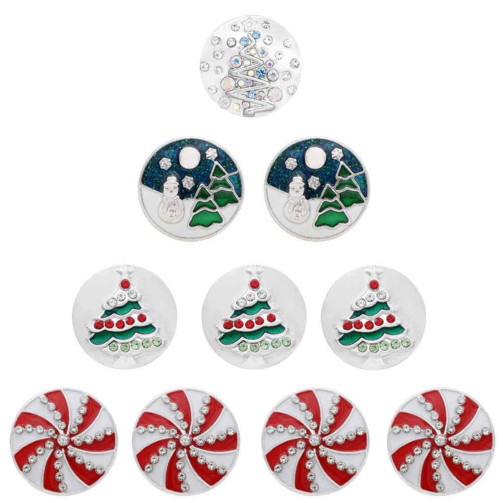 High Quality snap jewelry Christmas tree Rhinestone 18mm Metal Snap beads Charm Styles fit snap necklace bracelet for gifts