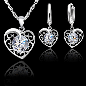 9fae64fb2c2e JEXXI de calidad superior 925 Original conjunto de joyas de plata para las  mujeres