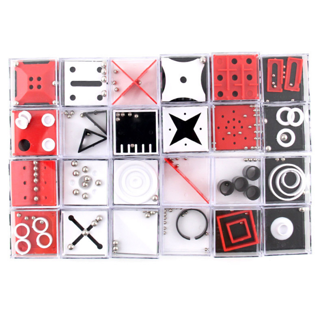 24Pcs Balance Maze Game Puzzle Boxes With Steel Ball Brain Teaser Educational Toys Gift Decompression Toy For Kid Adult