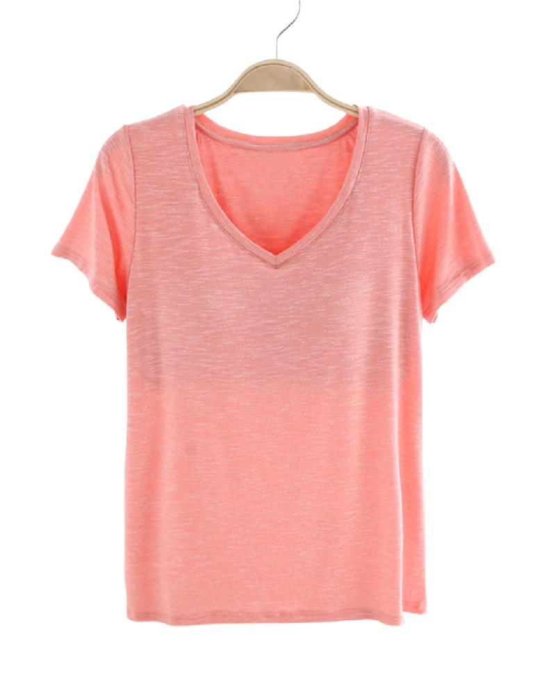 2019 Neuestes Design Missky Frauen Baumwolle Kurzarm V Kragen Hause Freizeit T-shirt Pyjamas Mit Bh Feine Verarbeitung Damen-nachtwäsche