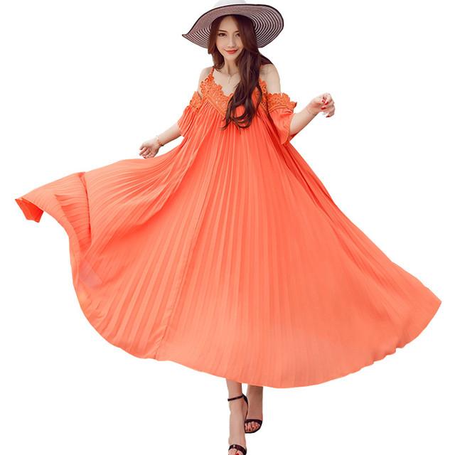 Pista de la alta Calidad Vestido de Las Mujeres 2016 Más Nuevo de Bohemia vestidos Maxi Vestidos de Verano Fuera Del Hombro de La Vendimia