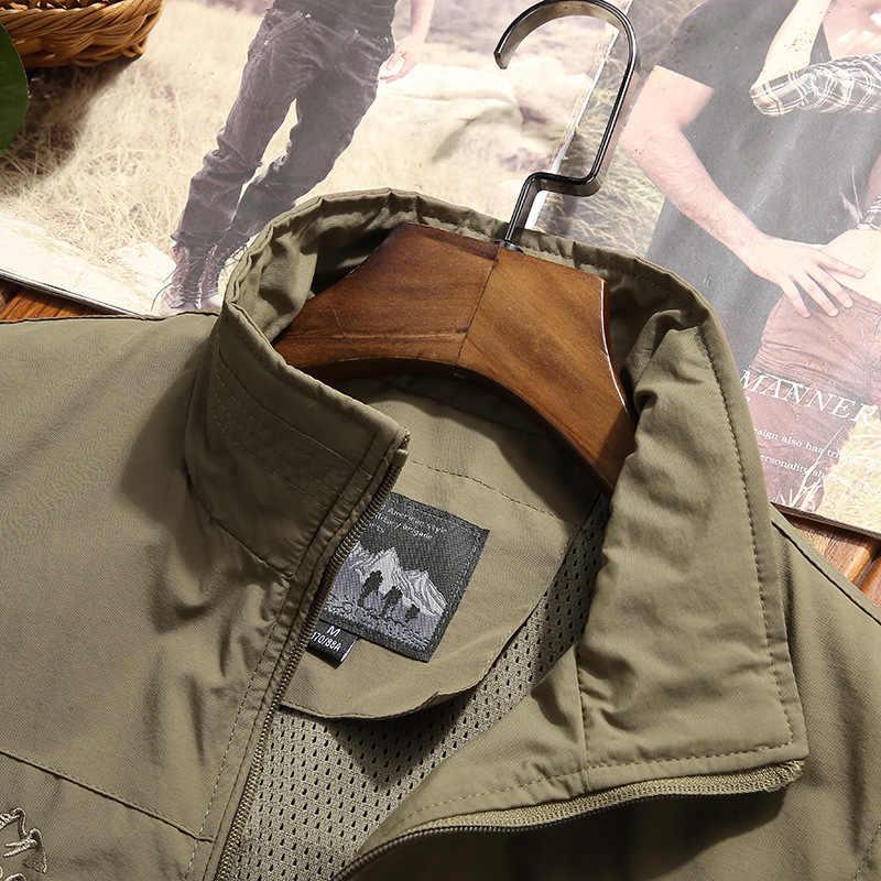 여름 빠른 건조 조끼 남자 Outwear 그물 라이너 얇은 메쉬 전술 조끼 스탠드 칼라 조끼 코트 chaleco hombre 빅 사이즈 M-4XL