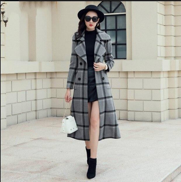 De Carreaux Longue À Femme Nouveau Automne Boutonnage Vestes Rétro Mixed Épaississent Manteau Double Outwear Hiver Manteaux Femmes Tranchée Laine 2018 8zIAqW7ww