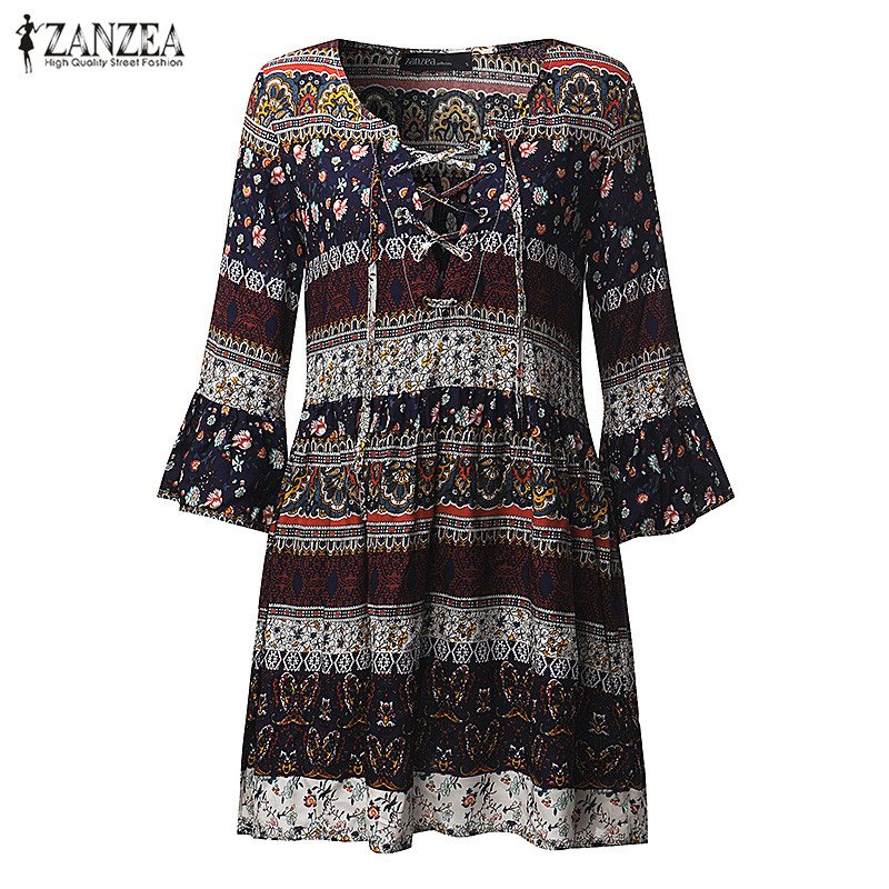 2018 Musim Panas ZANZEA Wanita Dicetak Mini Dress Wanita Sexy V Neck - Pakaian Wanita - Foto 5