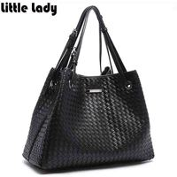 Women S Weave Handbag Soft Imitation Leather Large Tote Shopping Bag For Woman Ladies Casual Work