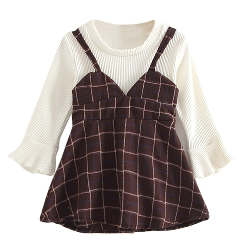 2018 Spring Autumn Baby Girls Clothes Set Little Kids Plaid Sling Dress+Long Sleeve T-Shirt New-arrival Fashion Clothing