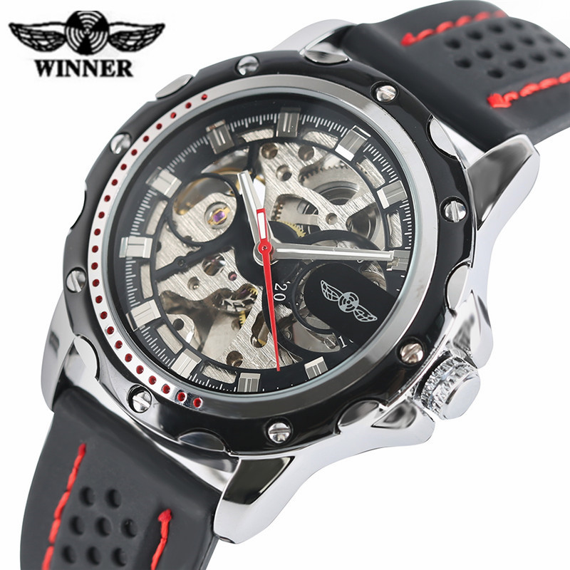 T-WINNER Automatic Watch Mens Trendy Mechanical Auto-Windding Silicone Band Wristwatches Modern Elegant Analog Hollow Clock Gift t winner automatic watch mens trendy mechanical auto windding silicone band wristwatches modern elegant analog hollow clock gift
