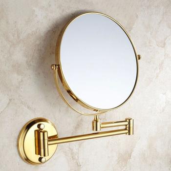 Lustra łazienkowe 8 #8222 okrągłe ściany podwójne lustro do makijażu 3 X powiększające Morrir lusterko kosmetyczne lustro łazienkowe mosiężne złote lustrzane 1308K tanie i dobre opinie WANFAN Podwójny arm wydłużyć 2-face Europa 8 cal ROUND Miedzi Metal SILVER Nie posiada Oprawione lustra Gold Bath Mirrors