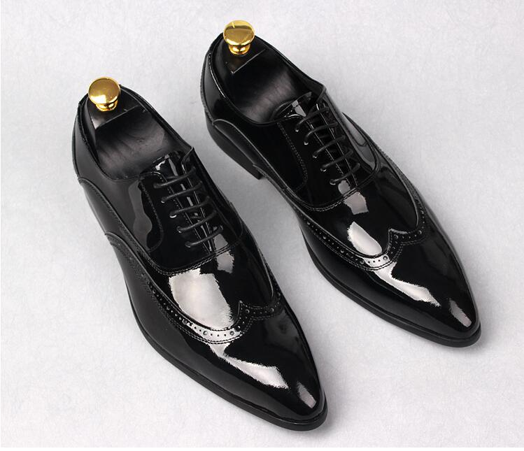 Derby shoes men lace up genuine patent leather pointed toes carved brogue wedding smart casual shoes formal business moccasins men s brogue shoes fashion brown pointed toe leather shoes breathable lace up men casual shoes moccasins size 38 43 8205m