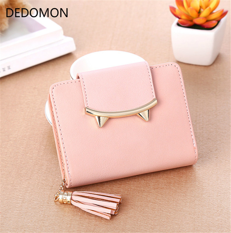 2019 Korean Cute Cat Ears Leather Short Tassel Women Wallet Small Day Clutch Trifold Female Purse ID Coin Card Holder Mini Bag