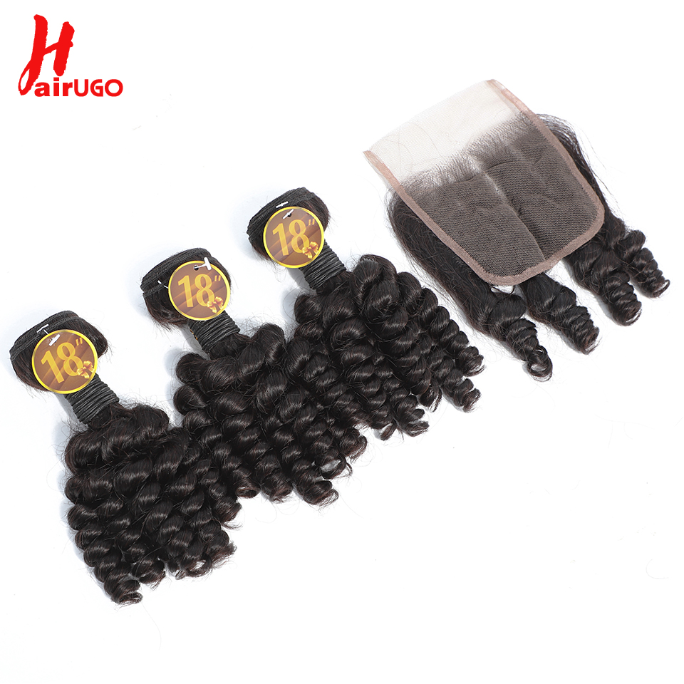 HairUGo Funmi Human Hair For Black Women Bundles With 4*4 Lace Closure 4pcs/lot Brazilian Remy Hair Wigs With Baby Hair