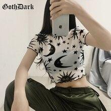 Goth Dark Aesthetic Grunge Summer 2019 Navel T-Shirts Crop Top Harajuku Print Gothic T shirt Sexy Ruffle Mesh Fashion T-Shirt