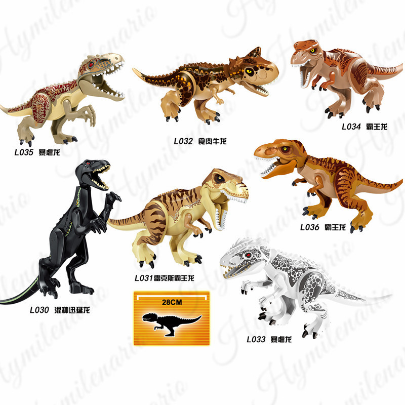 7Pcs Set Jurassic World Park Indoraptor Tyrannosaurus Rex Building Blocks Dinosaur Figures Bricks Action For Children