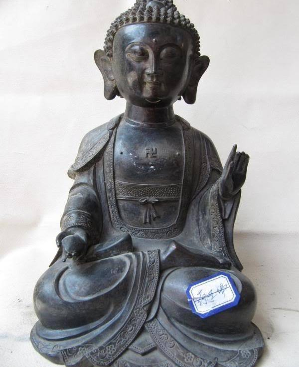 11 Tibet Buddhism Fane Copper Bronze Carve Dispenser God Buddha Sculpture Statue