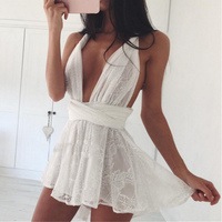 Sexy Women Rompers Lace Jumpsuit 2017 Summer Fashion Women Sexy Bodysuit Sleeveless Nightclub Party Backless Jumpsuits