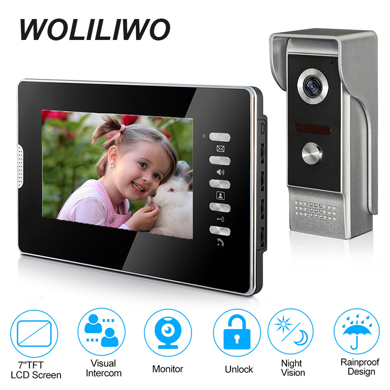 Video Intercom System Call Panel 7 Inch Wired Video Door Phone With Monitor,IR Night Vision And Metal Camera For Private Home