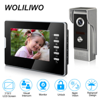 Video Intercom System 7 Inch Wired Video Door phone with Color LCD Screen of Monitor,IR Night Vision Intercom for Home Security