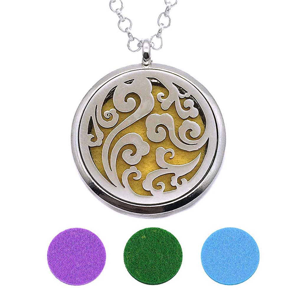 With Snake Chain 230 flowers New arrival 30mm Perfume Essential Oils Diffuser Locket Necklace With 3 Pads Women Teenagers Gift