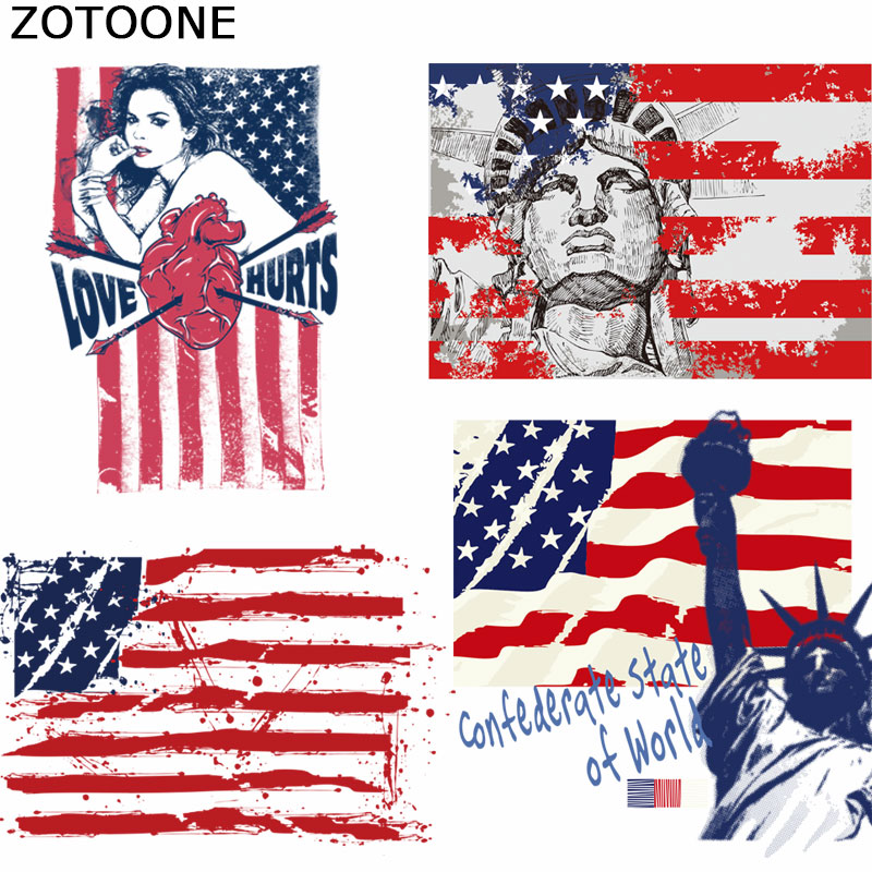 ZOTOONE Patches USA American Flag Patch for Clothing Ron on A-level Heat Transfer DIY T-Shirt Decoration Printing E