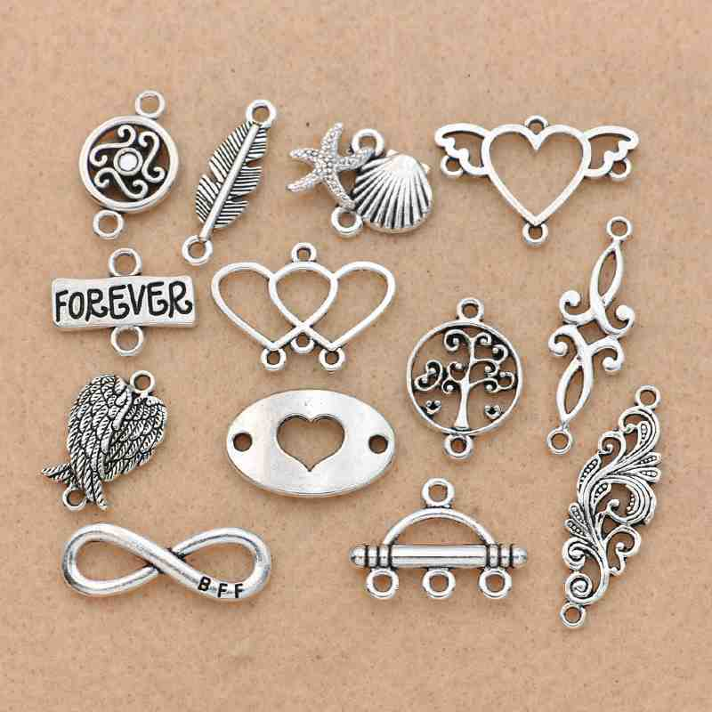 Tibetan Silver Plated  Angel Wings Infinity Heart Connector For Bracelet Necklace Jewelry Making Accessories DIY Craft Findings