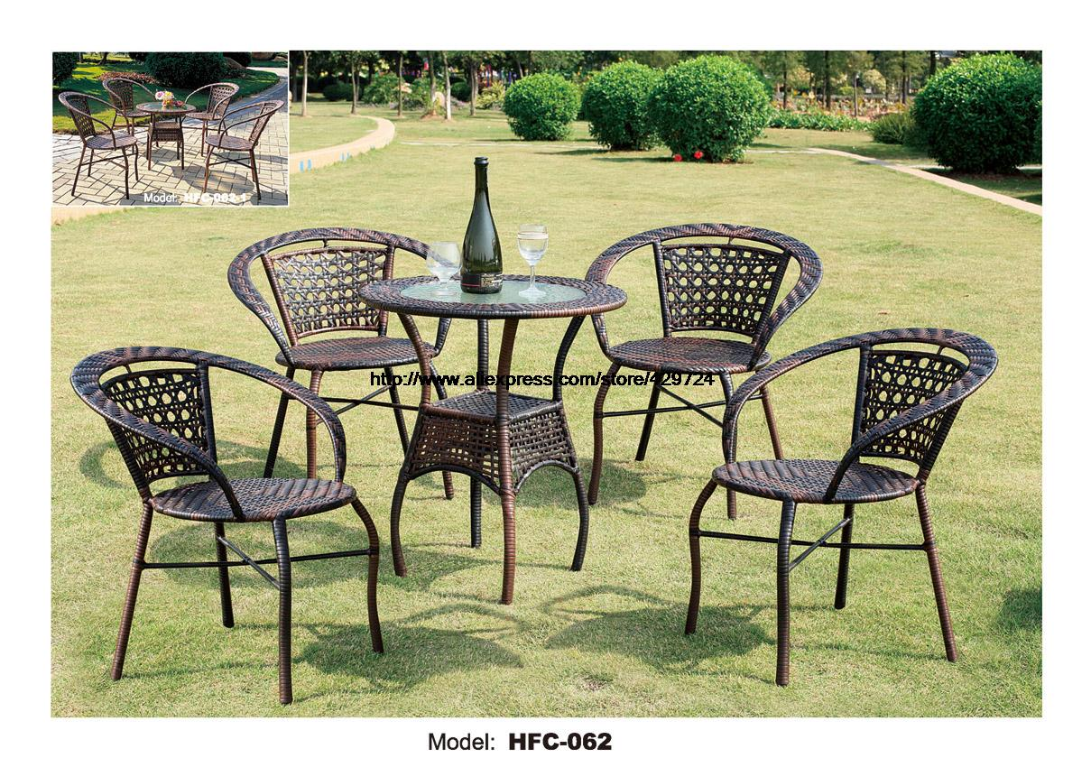 Balcony furniture small - Low Price Simple Design Gardern Set 60 65cm Rattan Table 4 Chairs Leisure Outdoor Balcony