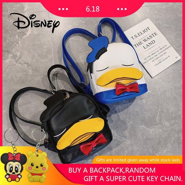 Disney Mochila Pato Donald 85th Aniversário PU Mochila Bonito Cara Grande Mickey Mouse Mulheres Mochila Menina Dos Desenhos Animados Do Bebê Sacos de Viagem