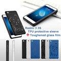 RedMi 3/ 3S Shockproof Hard Soft Silicone Phone Case TPU Matte Rugged Rubber Dragon+Toughened glass film