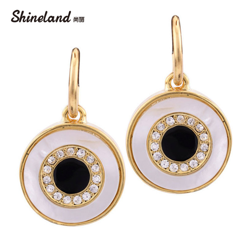 New Fashion Design Glänsande Crystal Gold  Silver Color Shell Alloy Round Hänge Emalj Statement Dangle Earrings Smycken För kvinnor