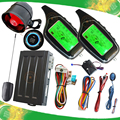 2 way auto car alarm system with engine start stop button remote anti robbery feature sound or mute arm or disarm