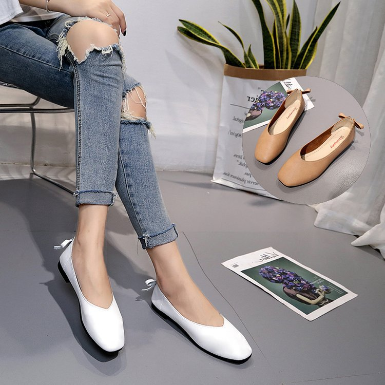 Man Shoes Flat-Heels Comfortable Genuine New Shallow Square Butterfly Leisure