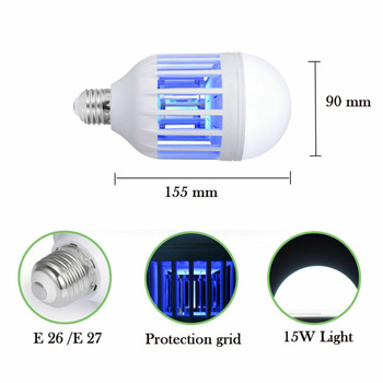 2 In 1 LED Light Bulb Bug Mosquito Fly Insect Killer Bulb Lamp Indoor Outdoor Repellents    -