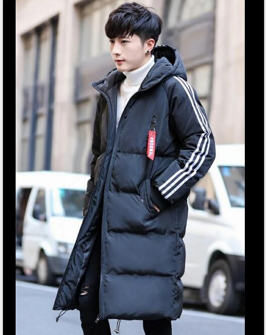 Free shipping 2018 hot style men's down padded jacket Korean version slim long style casual padded jacket in pure color 11
