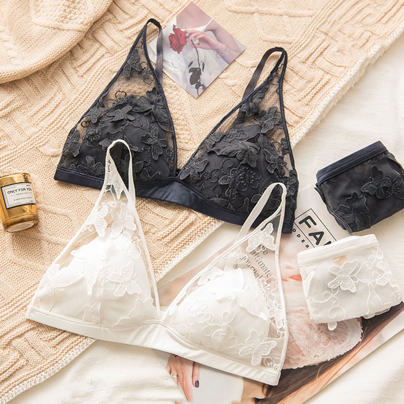 Roseheart Women Fashion Orange Gray Wireless   Bra     Sets   Wirelss Mesh Embroidery Cotton Panties Sexy Lingerie   Sets   Underwear A B