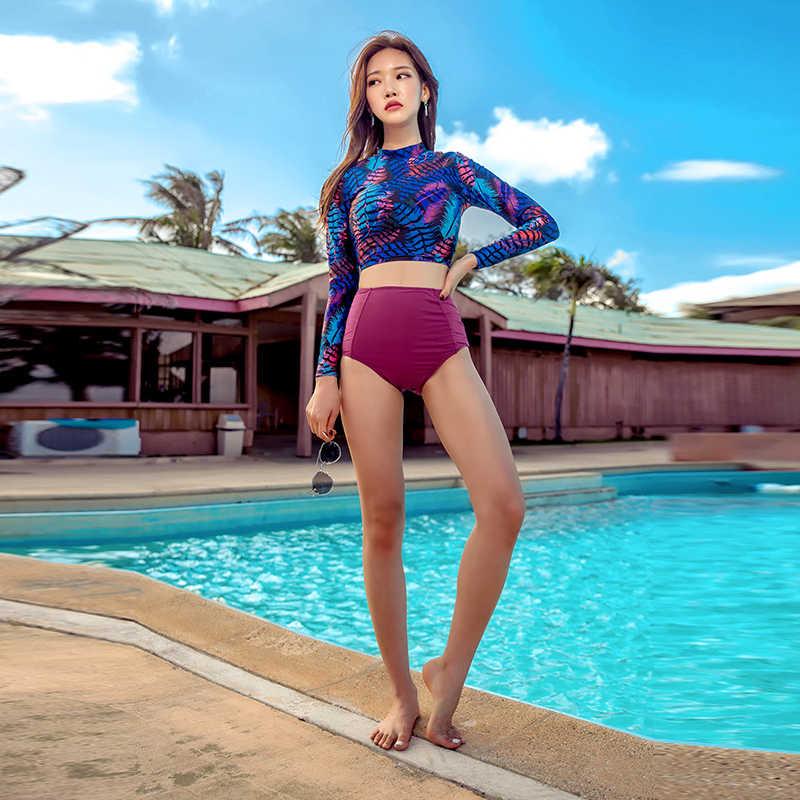 Sajak Wanita Panjang Lengan Brasil Baju Renang Dua Ruam Penjaga Cetak Beachwear 2018 Pelindung Matahari Wanita Baju Renang