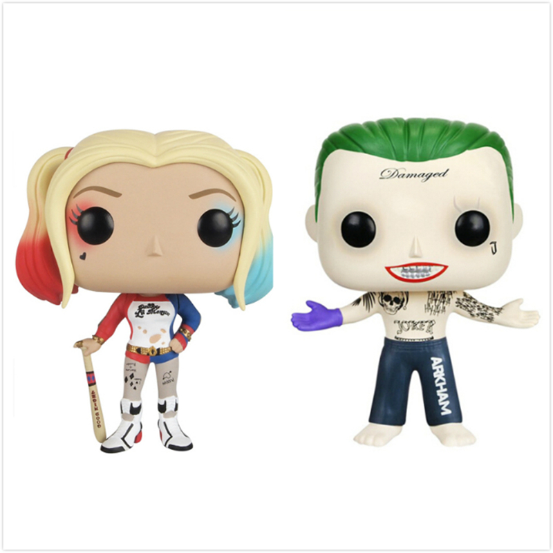 Pop Suicide Squad Harley Quinn The Joker 10cm Vinyl action Figure Collectible Model Toy With Original Box Marvel DC Movie Gifts hot figures toys suicide squad harley quinn deadshot the joker pvc 10cm action figure collection model movie kids toys with box