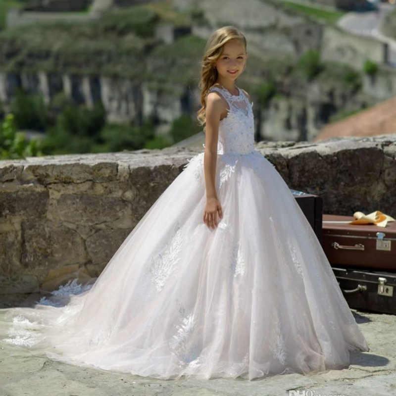 Branco Vestido Da Menina Flor Crianças Pageant Aniversário Festa Formal Rendas Vestido Longo Bowknot Vestido de Primeira Comunhão vestido de Baile 2-14Y