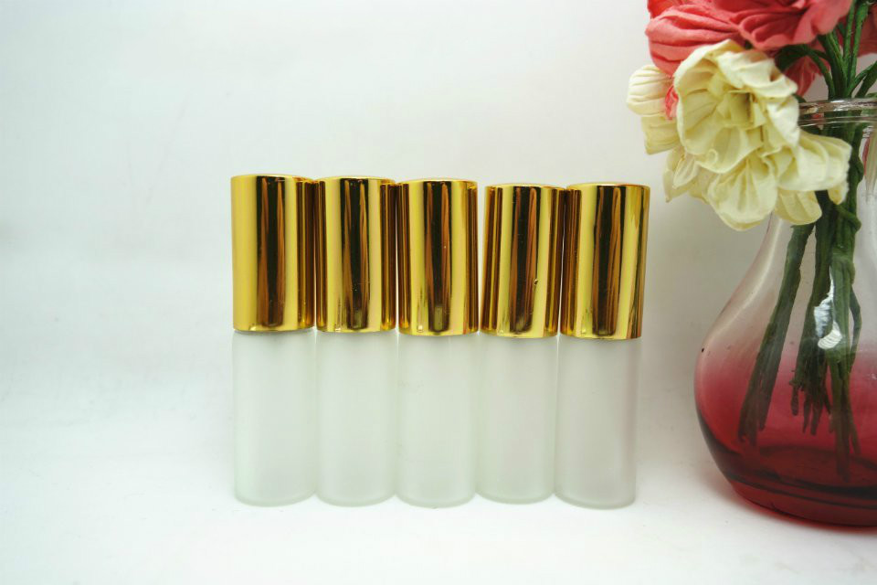 Wholesale LG07MA 5ML gold and silver Frosted glass perfume spray bottle 100pcs lot