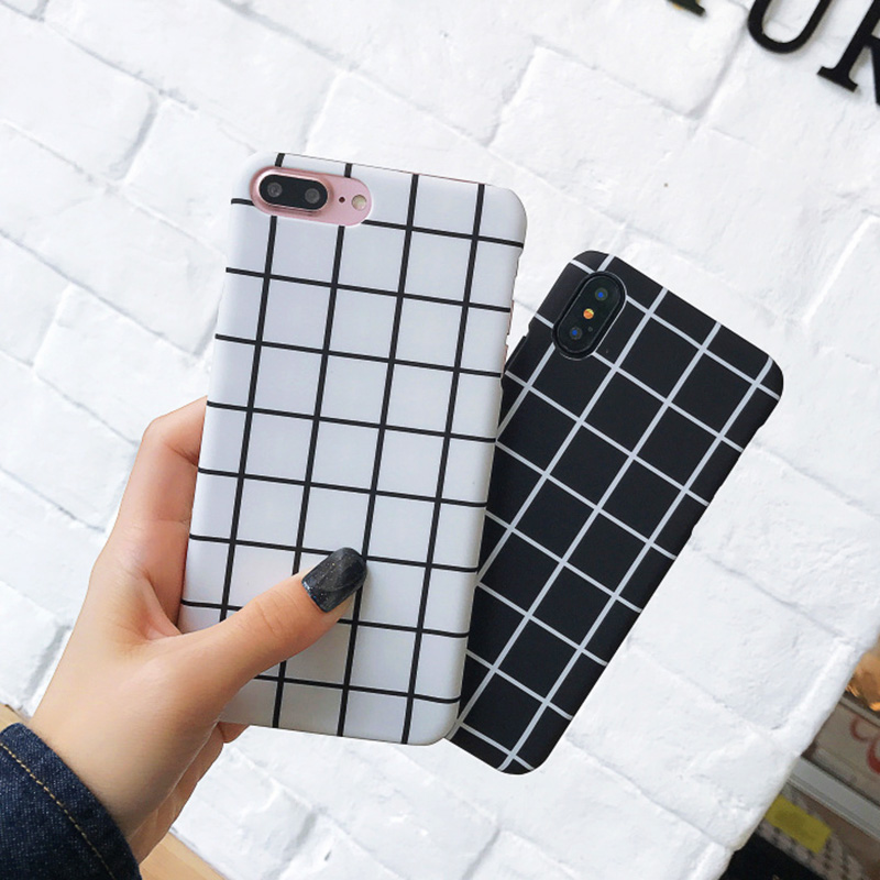 KIP7P1259_5_JONSNOW Black White Plaid Stripe Pattern Phone Case For iPhone 6 6S 7 8 Plus XS XR XS Max Cases Painted PC Hard Protective Back Cover