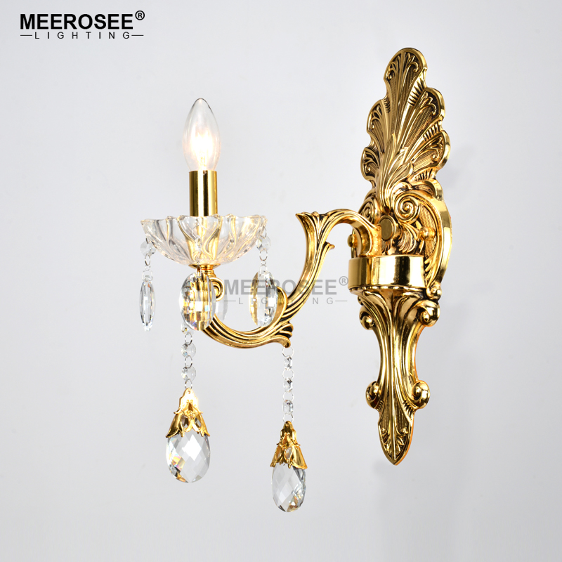 Gold Crystal Wall Sconces Crystal Light Fixture 2 Arms